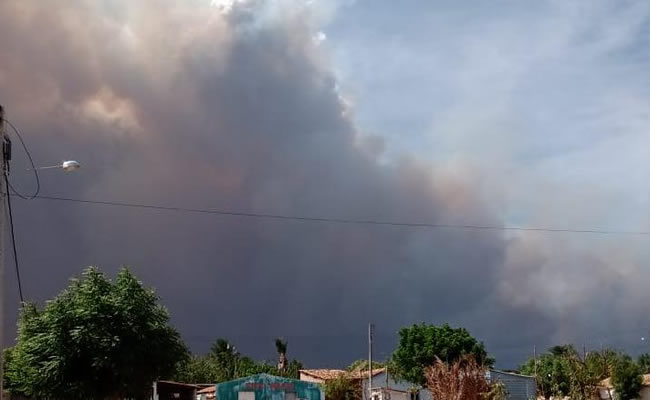 Fogo atinge vegetação e chega perto de casas em comunidade de Ipueiras, no Ceará