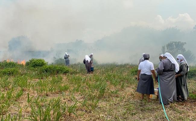 Monjas tentam apagar fogo em vegetação no Dias Macedo